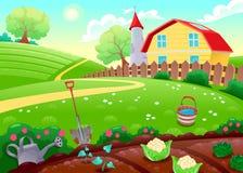 Roligt bygdlandskap med grönsakträdgården stock illustrationer