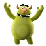 Roligt 3D monster, glad tecknad film som isoleras på vit bakgrund Royaltyfria Bilder