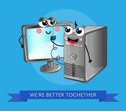 Roligt datorgrejbaner i tecknad filmstil Arkivfoton