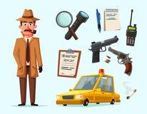 Roligt detektiv- tecken den främmande tecknad filmkatten flyr illustrationtakvektorn Royaltyfri Fotografi