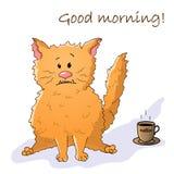 Roligt djur f?r vektor Gullig galen katt Vykort med uttrycket: Bra morgon Katt med en kopp kaffe isolerat objekt p? vit stock illustrationer