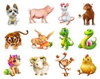 Roligt djur i den kinesiska zodiaken, kinesisk kalender symboler för pappfärgsymbol ställde in vektorn för etiketter tre Royaltyfri Bild