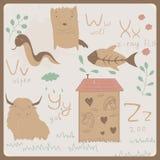 Roligt djuralfabet för ungar. V till Z Arkivbilder