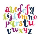 Roligt engelskt alfabet för vektortecknad film Modern kalligrafistilsort Vektorn märker isolerat och enkelt att använda stock illustrationer