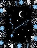 Roligt enkelt blått Fiskarnavektortecken Blom- ram, vit måne och stjärnor stock illustrationer