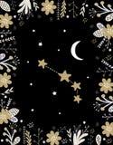 Roligt enkelt guld- Aires vektortecken Blom- ram, vit måne och stjärnor royaltyfri illustrationer
