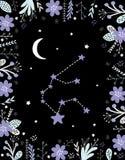 Roligt enkelt Vattumannenvektortecken Blom- ram, vit måne och stjärnor royaltyfri illustrationer
