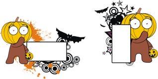 Roligt för halloween för pumpaungetecknad film utrymme kopia stock illustrationer
