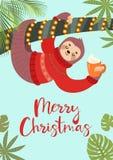 Roligt festligt hälsa kort med en gullig sengångare också vektor för coreldrawillustration Tropisk julaffisch stock illustrationer