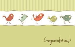 Roligt fågelhälsningkort Royaltyfri Fotografi