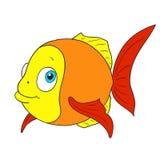 Roligt fisktecken Vektortecknad filmfisk Arkivfoton