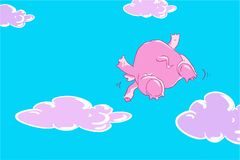 Roligt flyg för rosa elefant för tecknad film i den blåa himlen med lila moln Arkivbild