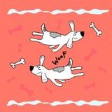 Roligt flyg som sover hunden, barnsligt tryck för handklotter Göra perfekt för t-skjortan, dräkt, kort, affischen, barnkammaregar vektor illustrationer