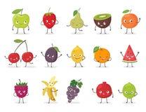 Roligt frukttecken - uppsättning den främmande tecknad filmkatten flyr illustrationtakvektorn royaltyfri illustrationer