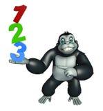 Roligt gorillatecknad filmtecken med tecken 123 stock illustrationer