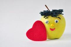 Roligt grönt äpple Royaltyfri Bild