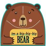 Roligt gulligt djur för björn med textasken Fotografering för Bildbyråer