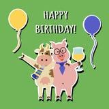 Roligt hälsningkort för lycklig födelsedag, djur Royaltyfria Bilder
