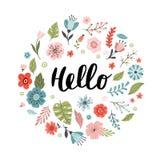 Roligt hand-dragit baner med blommor och texthälsningar vektor illustrationer