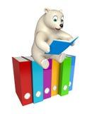 Roligt isbjörntecknad filmtecken med böcker och mappar Royaltyfria Bilder