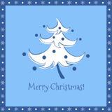Roligt kort för hälsning för blått för julträd Arkivbild