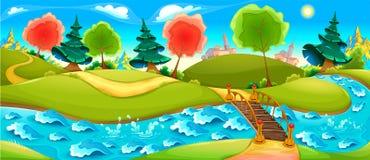 Roligt landskap med floden, träd och staden på horisonten stock illustrationer