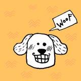 Roligt le hundhuvud, barnsligt tryck för handklotter Göra perfekt för t-skjortan, dräkt, kort, affischen, barnkammaregarnering ve vektor illustrationer