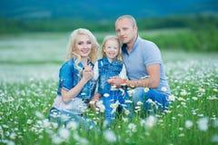 roligt lyckligt ha för familj utomhus Stående av den lyckliga familjen i lyckligt folk för bygd som bär utomhus jeans som tycker  Arkivbild