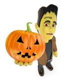 roligt monster 3D Frankenstein med en stor pumpa halloween Arkivbild