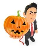 roligt monster 3D Jäkel med en stor pumpa halloween Royaltyfri Bild
