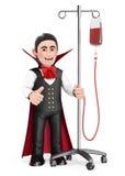 roligt monster 3D Vampyr i sjukhus med serum halloween Royaltyfri Foto
