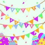 Roligt och färgrikt lyckligt påskhälsningkort och parti med illustrationen av ägg, banret, flaggan, konfettipartiet och text royaltyfri illustrationer