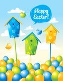 Roligt påskkort med ägg och fåglar Royaltyfri Bild