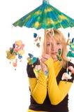 roligt paraplykvinnabarn Royaltyfri Bild