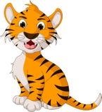 Roligt posera för tigertecknad film Royaltyfri Foto