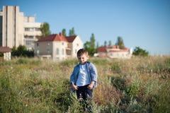 Roligt pysanseende i fält på bakgrunden av hus royaltyfria bilder