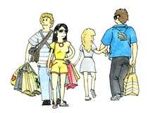 Roligt shoppingsökandesystem Fotografering för Bildbyråer