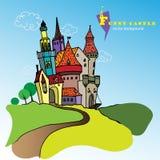 roligt slott vektor illustrationer