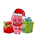 Roligt svin för jul i hatt och halsduk för jultomten s med den gåvaasken och påsen arkivfoto