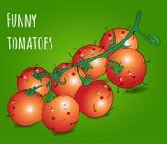 Roligt tecken för körsbärsröda tomater för grönsaker Royaltyfri Illustrationer