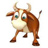 Roligt tecknad filmtecken för gullig tjur Royaltyfri Fotografi