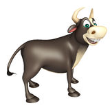 Roligt tecknad filmtecken för tjur Fotografering för Bildbyråer