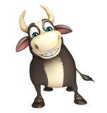Roligt tecknad filmtecken för tjur Arkivfoto