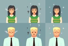 roligt tecknad filmtecken Förvirrat för stillhet för kontorsarbetare ilsket illustration för mankvinnavektor Arkivbild
