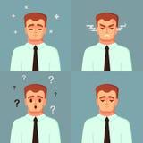 roligt tecknad filmtecken Förvirrat för stillhet för kontorsarbetare ledset ilsket Manvektorillustration Arkivbilder