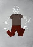 Roligt tecknad filmtecken i tillfällig kläder Fotografering för Bildbyråer