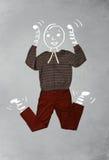 Roligt tecknad filmtecken i tillfällig kläder Arkivfoton