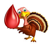 roligt Turkiet tecknad filmtecken med bloddroppe Arkivbild