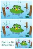 Roligt ungepussel av en fågel i en sjö Arkivbild