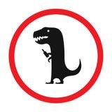Roligt vägmärke för vektor för stång eller nattklubb Full dinosaurie med flaskan Rött uppmärksamhettecken Plan design Fotografering för Bildbyråer